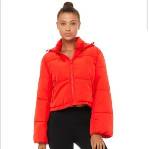 alo Introspective Quilted puff Jacket in Red